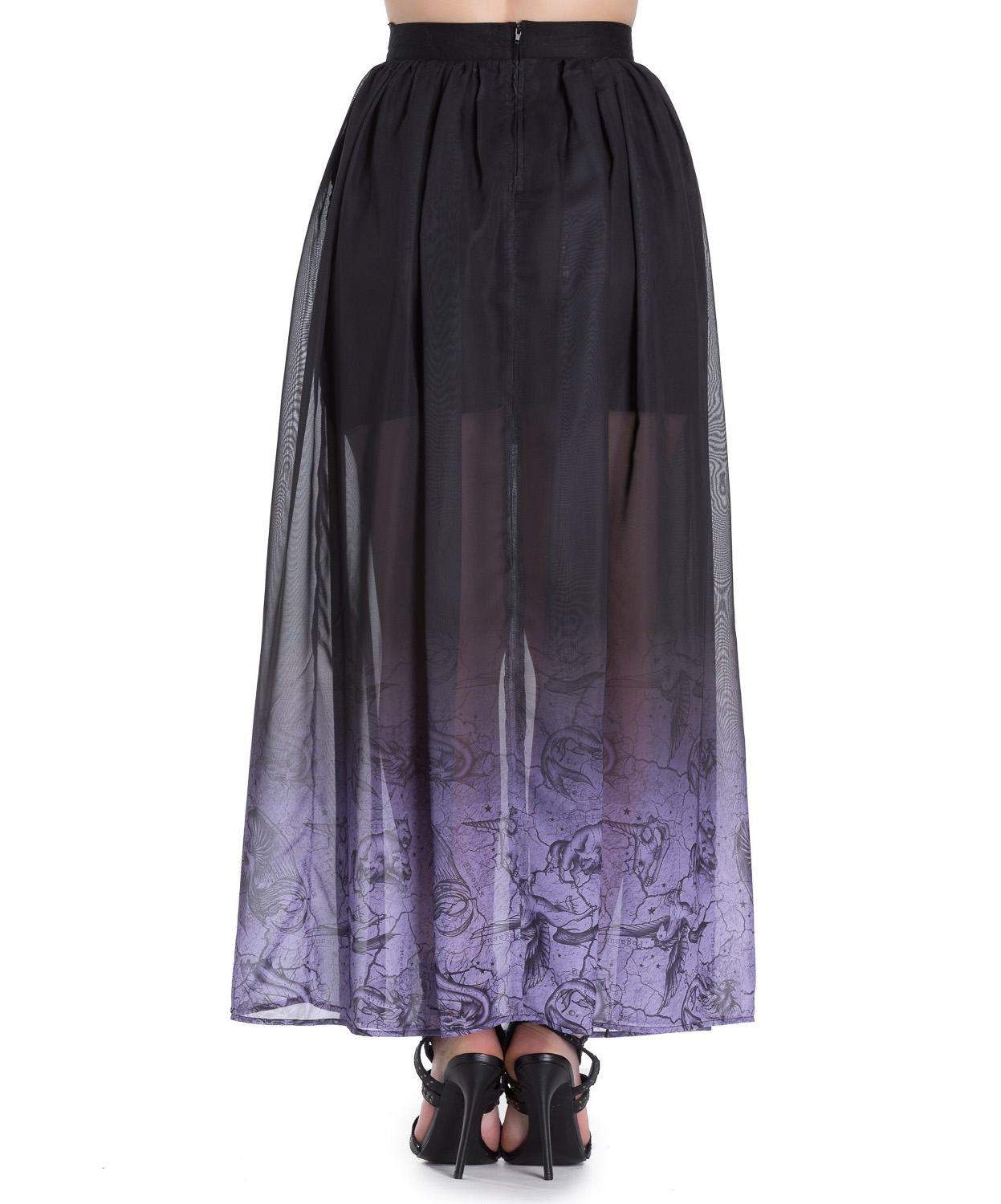 Hell-Bunny-Spin-Doctor-Goth-Purple-Mystical-EVADINE-Maxi-Skirt-All-Sizes thumbnail 5