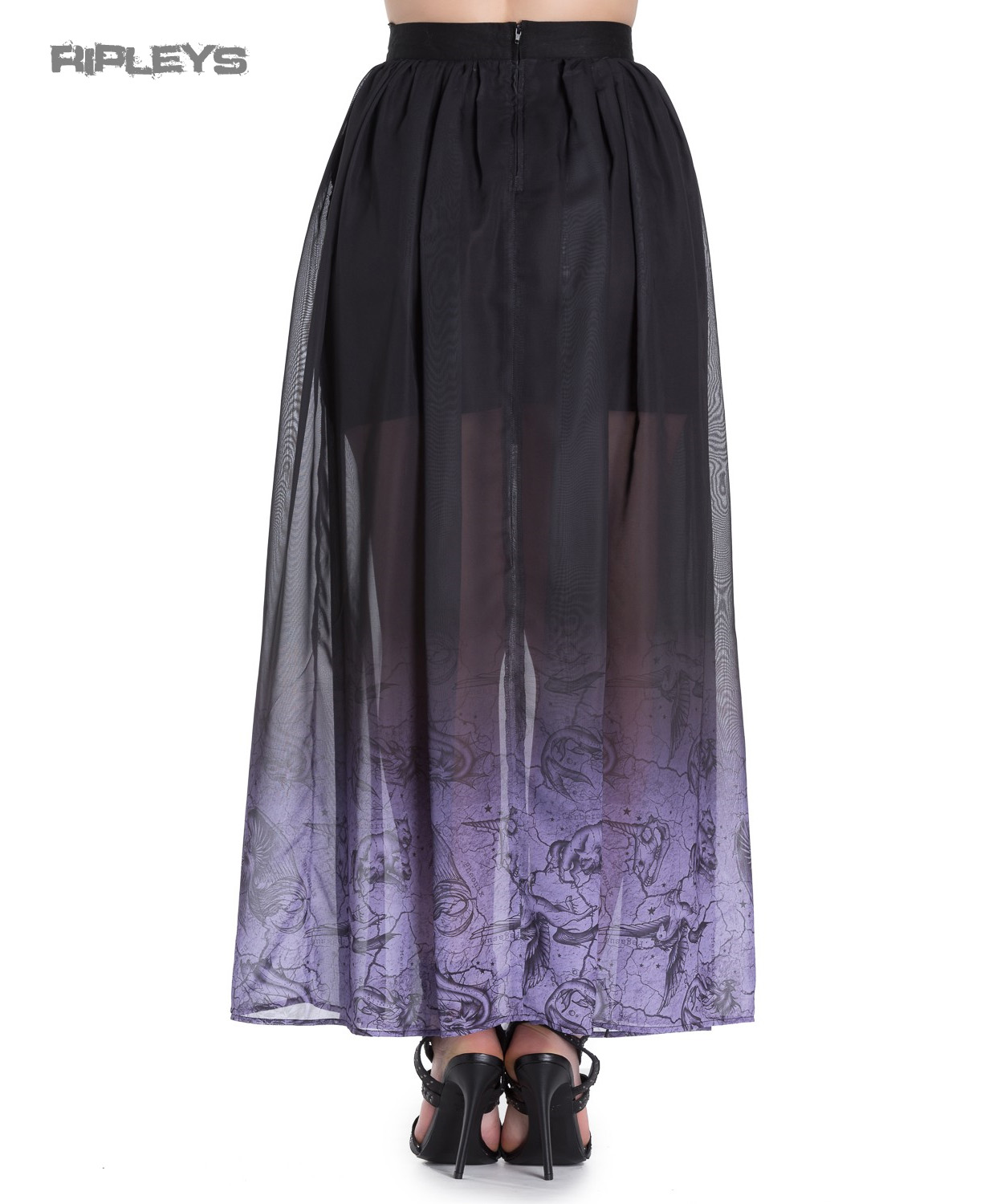 Hell-Bunny-Spin-Doctor-Goth-Purple-Mystical-EVADINE-Maxi-Skirt-All-Sizes thumbnail 4
