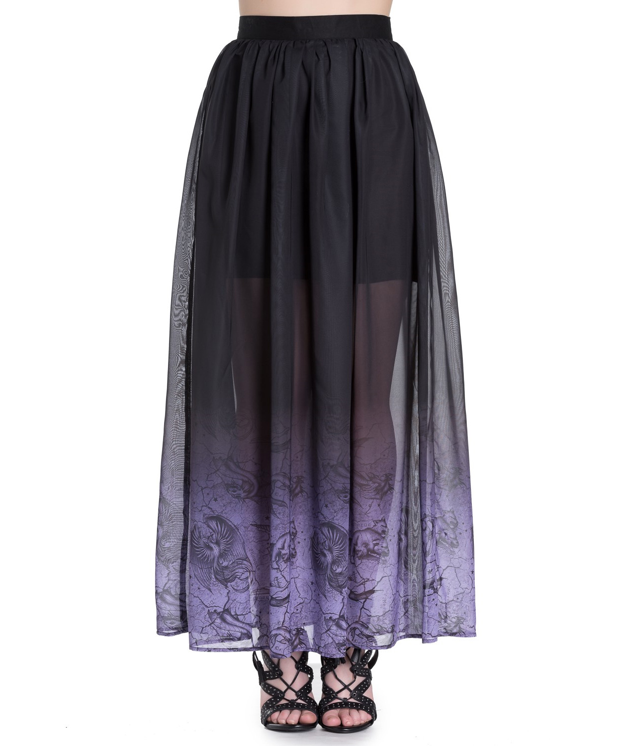 Hell-Bunny-Spin-Doctor-Goth-Purple-Mystical-EVADINE-Maxi-Skirt-All-Sizes thumbnail 3