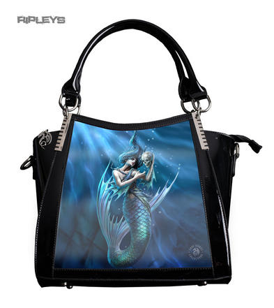 ANNE STOKES 3D Large Hand Bag Black PVC Goth Blue Mermaid 'Sailors Ruin'