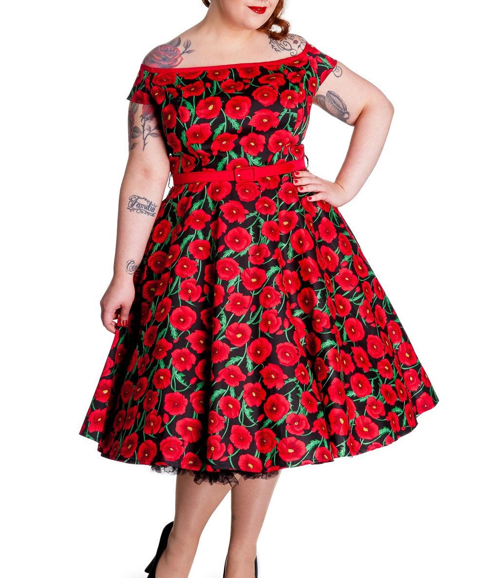 99e407555 Sentinel Hell Bunny 50s Dress Pin Up CORDELIA Red Black Poppy Flowers All  Sizes
