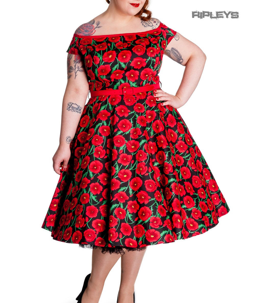 2e2cab8d57321 Hell Bunny 50s Dress Pin Up CORDELIA Red Black Poppy Flowers All Sizes