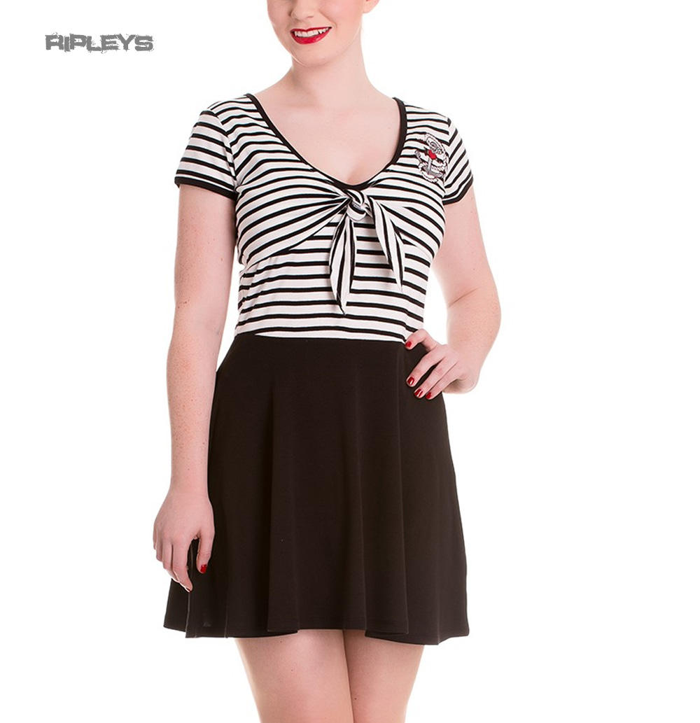 e0d976285ea Hell Bunny Mini Skater Dress MARISSA Anchor White Black Stripe All Sizes