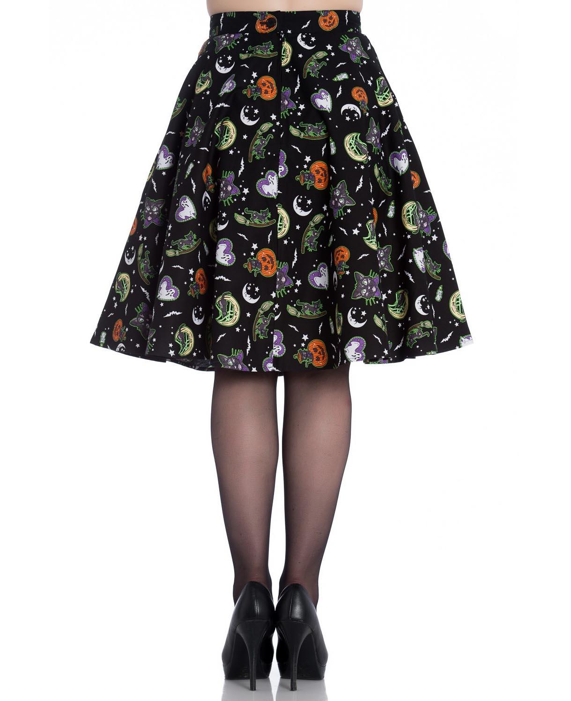 thumbnail 8 - Hell Bunny Goth Black Halloween 50s Skirt SALEM Bats Ghosts Pumpkins XS 8