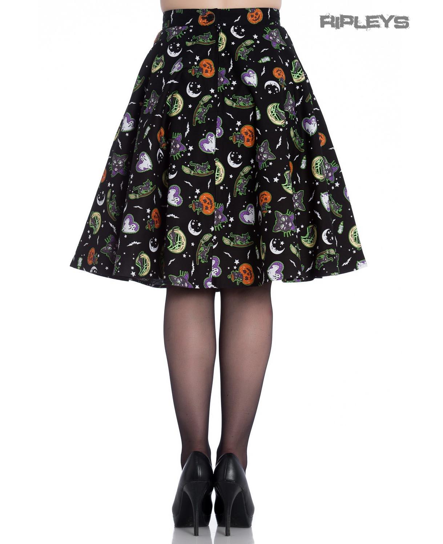 thumbnail 7 - Hell Bunny Goth Black Halloween 50s Skirt SALEM Bats Ghosts Pumpkins XS 8