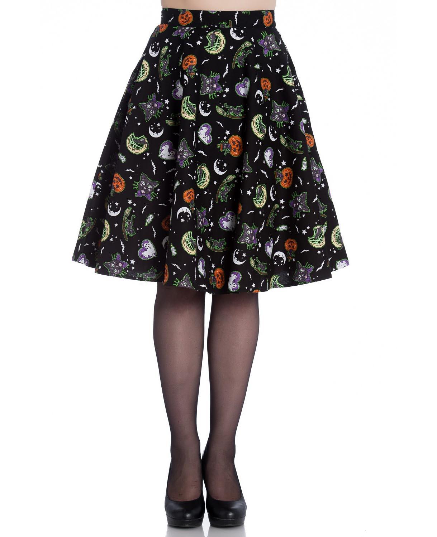 thumbnail 6 - Hell Bunny Goth Black Halloween 50s Skirt SALEM Bats Ghosts Pumpkins XS 8