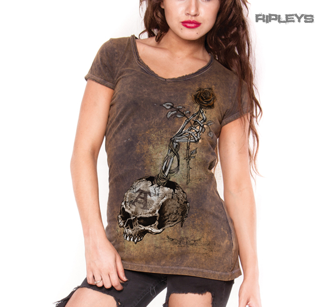 ALCHEMY-Ladies-Top-Goth-Grunge-Vintage-039-Risk-It-All-039-Skull-Rose-Brown-All-Sizes