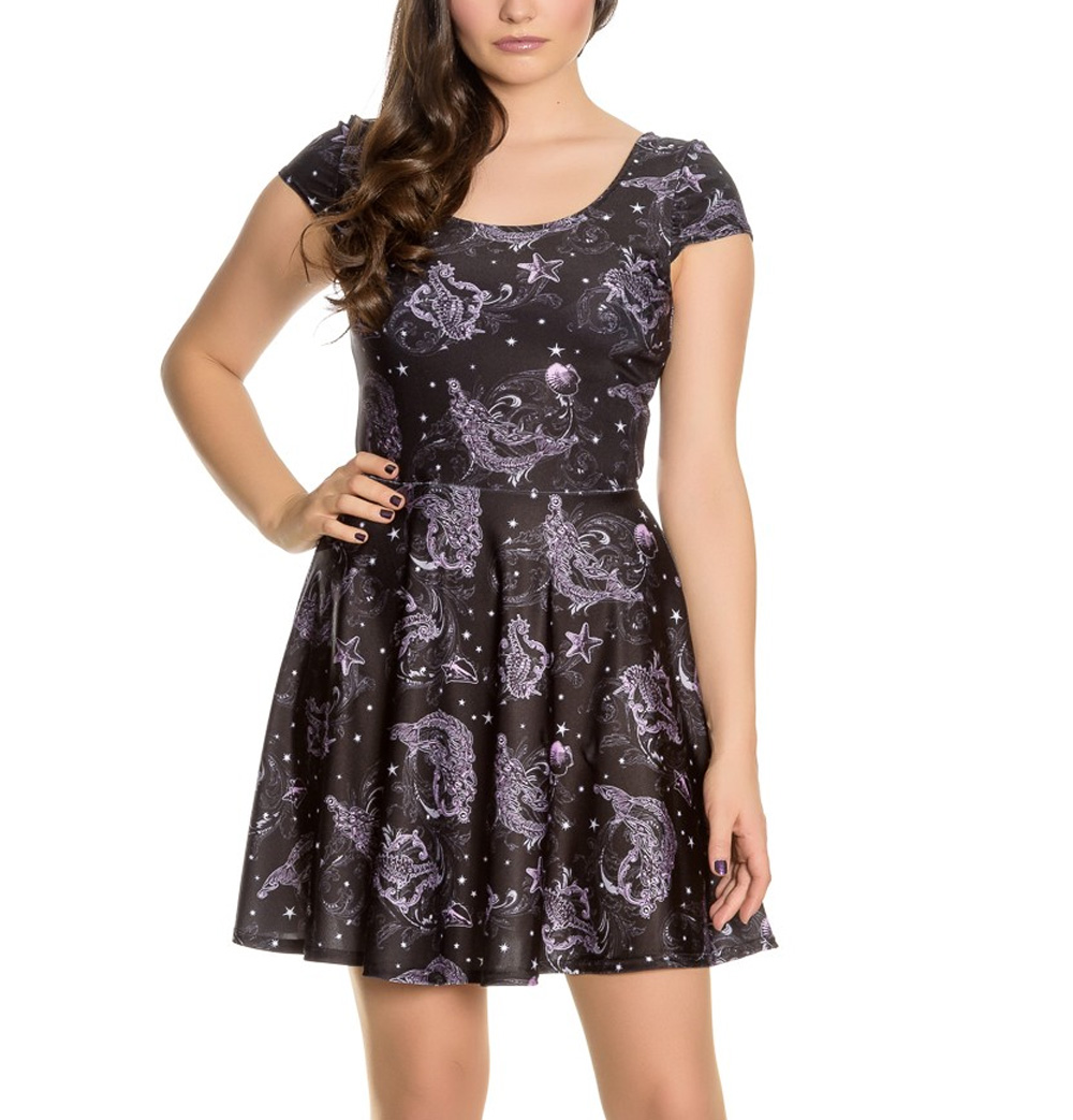 Hell-Bunny-Goth-Mini-Dress-Purple-Black-DARK-SEA-Mermaid-Skeleton-Star-All-Sizes thumbnail 7