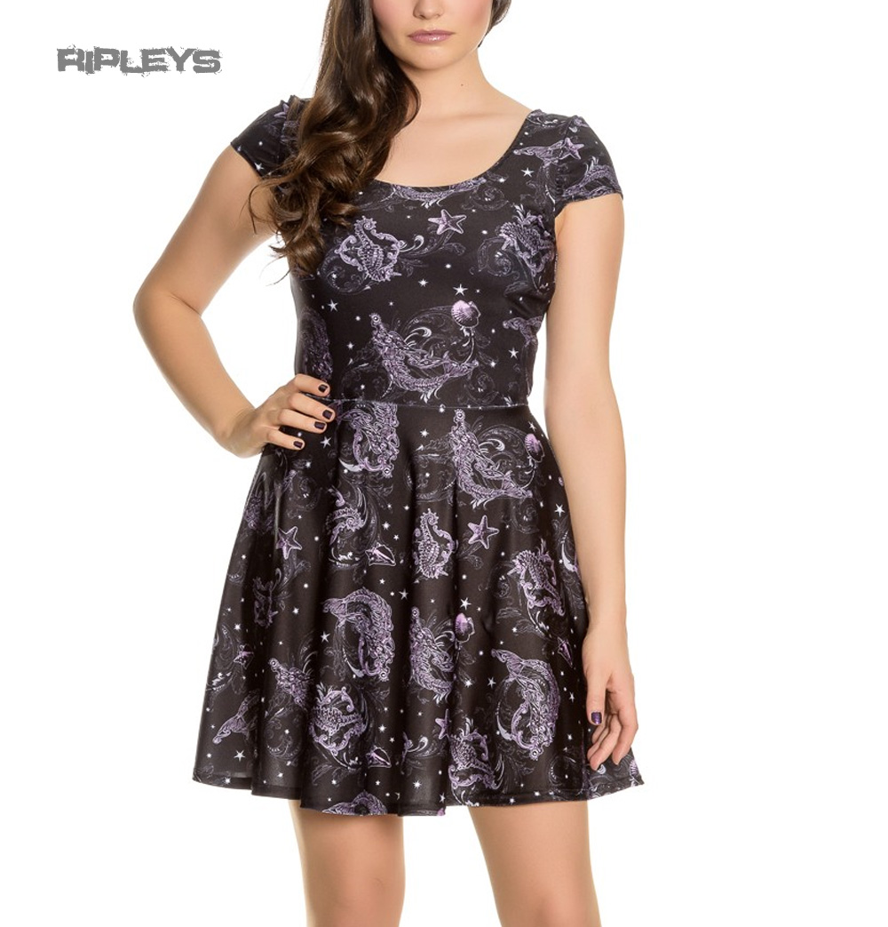 Hell-Bunny-Goth-Mini-Dress-Purple-Black-DARK-SEA-Mermaid-Skeleton-Star-All-Sizes thumbnail 2
