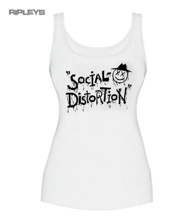 Official Skinny Vest Top White Social Distortion Punk 'XD EYE' All Sizes