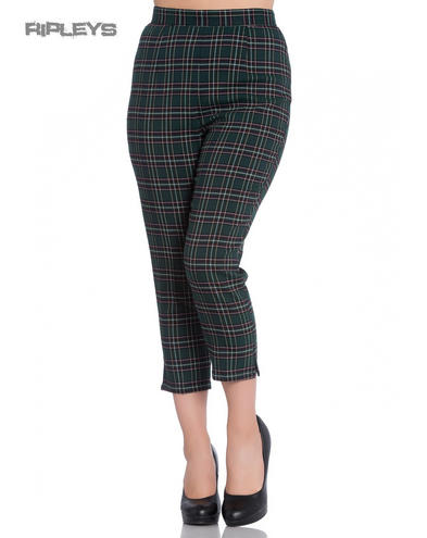 Hell Bunny 40s 50s Green Tartan PEEBLES Cigarette Capris Trousers All Sizes