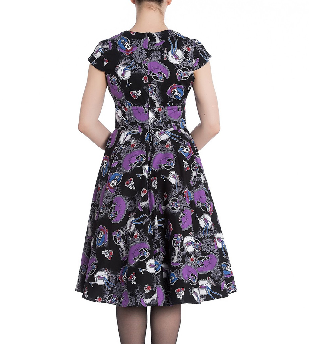 Hell-Bunny-Black-Pinup-50s-Goth-Dress-Muertos-GRACIELA-Skeletons-All-Sizes thumbnail 5