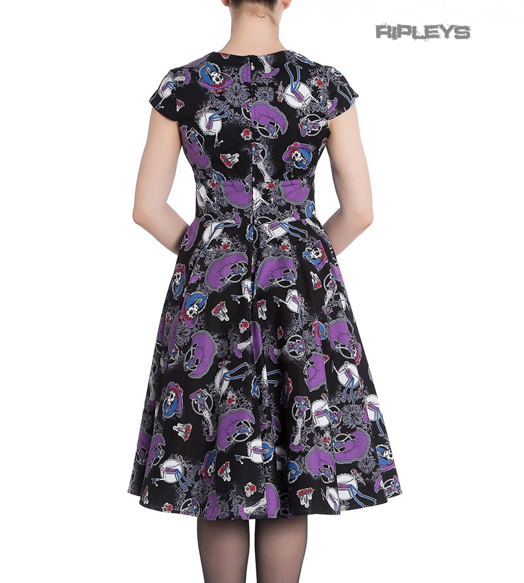 Hell-Bunny-Black-Pinup-50s-Goth-Dress-Muertos-GRACIELA-Skeletons-All-Sizes thumbnail 4