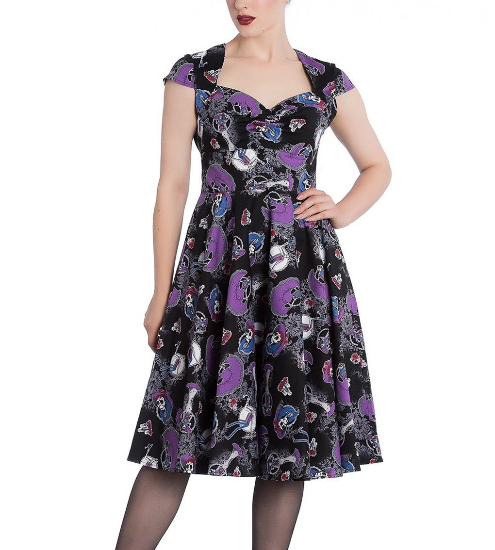 Hell-Bunny-Black-Pinup-50s-Goth-Dress-Muertos-GRACIELA-Skeletons-All-Sizes thumbnail 3