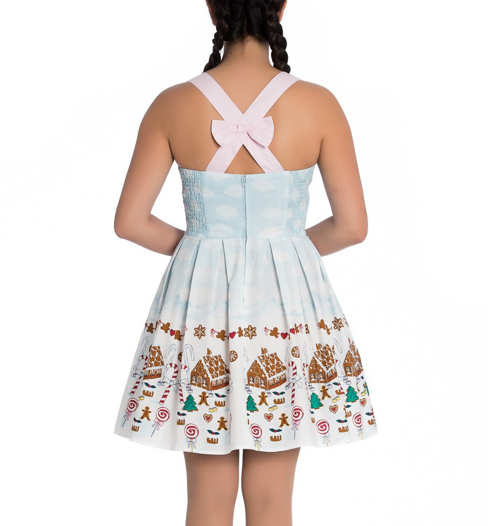 Hell-Bunny-Christmas-Blue-Mini-Dress-CANDY-Gingerbread-Festive-All-Sizes thumbnail 5