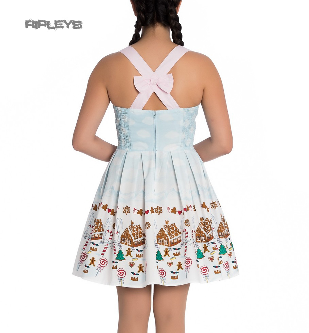 Hell-Bunny-Christmas-Blue-Mini-Dress-CANDY-Gingerbread-Festive-All-Sizes thumbnail 4
