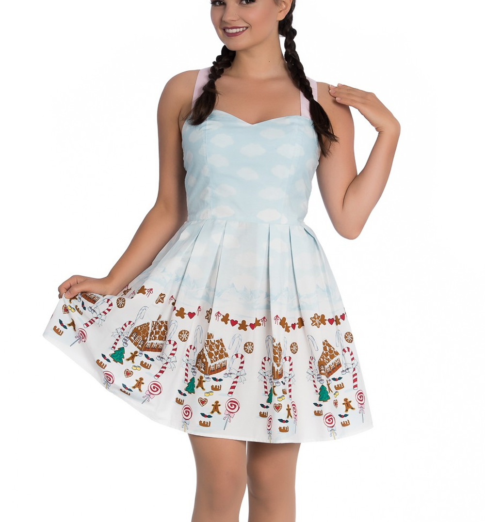 Hell-Bunny-Christmas-Blue-Mini-Dress-CANDY-Gingerbread-Festive-All-Sizes thumbnail 3