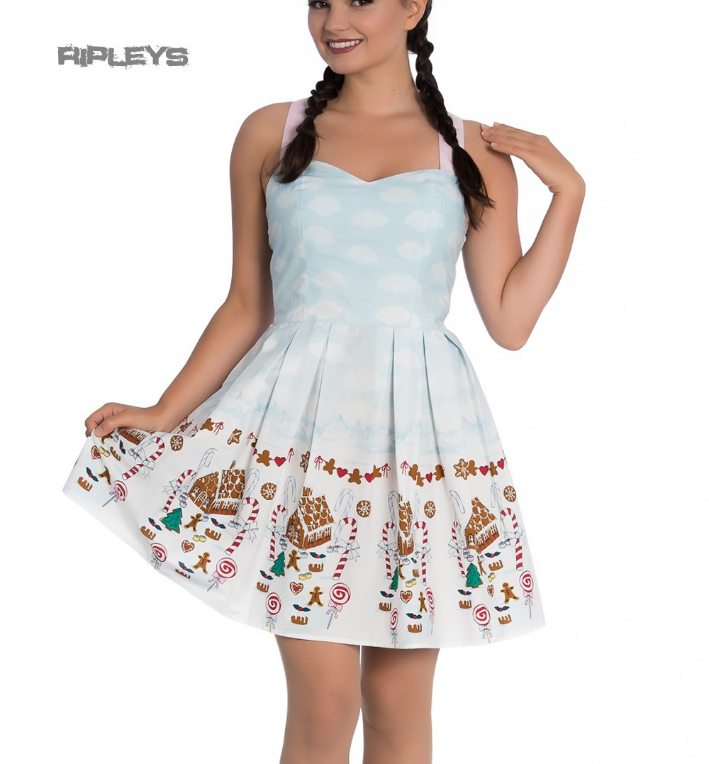 Hell-Bunny-Christmas-Blue-Mini-Dress-CANDY-Gingerbread-Festive-All-Sizes thumbnail 14