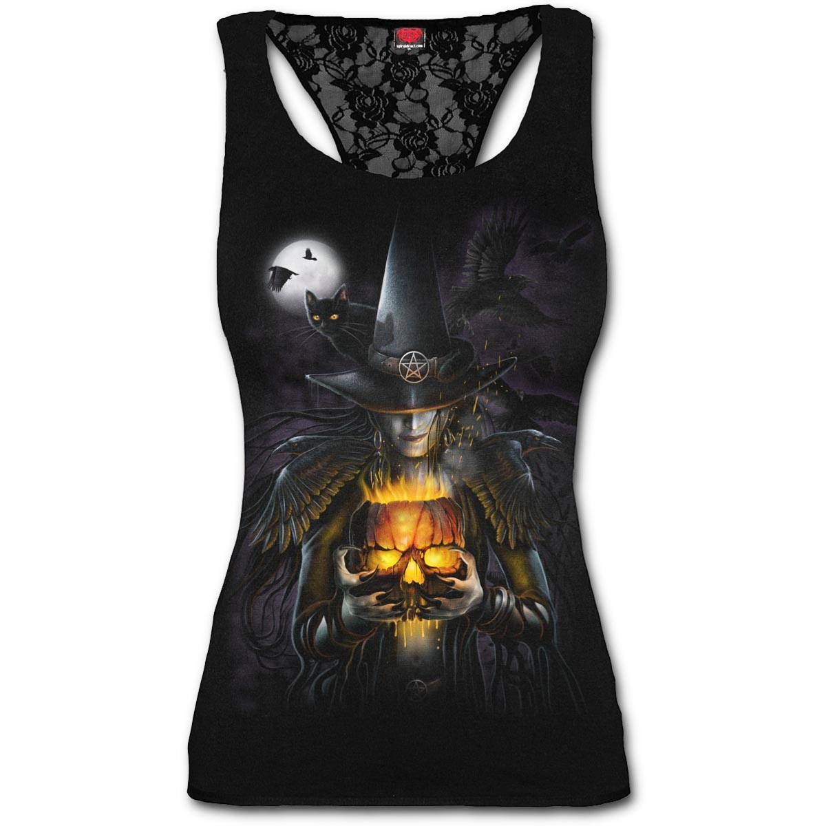 Spiral-Ladies-Black-Goth-WITCHING-HOUR-Halloween-Lace-Vest-Top-All-Sizes thumbnail 3