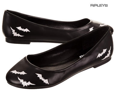 BANNED Dolly Ballerina Shoes WHITE BATS Flats Pumps Goth Witch All Sizes