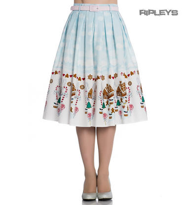 Hell Bunny 50s Blue Festive Christmas Skirt GIGI Snow Gingerbread All Sizes Preview