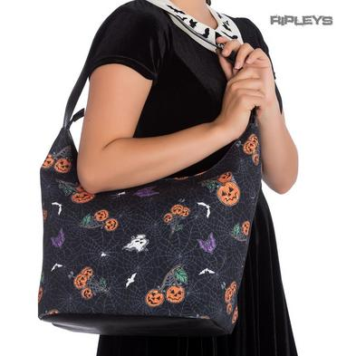 Hell Bunny Goth Punk Large Tote Shoulder Bag Pumpkin Bats HARLOW Boho Handbag