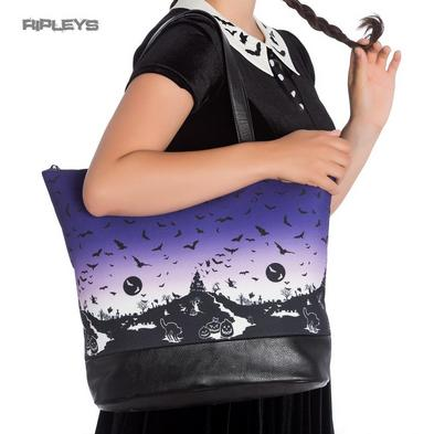 Hell Bunny Goth Punk Large Tote Shoulder Bag HAUNT Purple Bats Boho Handbag