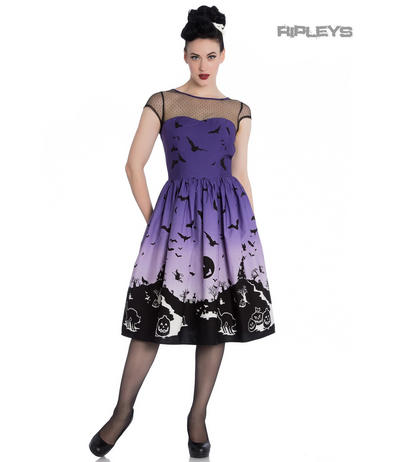 Hell Bunny Pinup 50s Dress HAUNT Purple Halloween Bats Witch Mesh All Sizes Preview