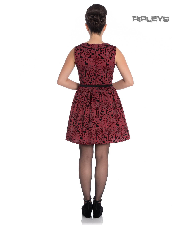 6eb4bc0d35db Sentinel Hell Bunny 50s Mini Skater Dress Woodland Trees SHERWOOD Black Red All  Sizes
