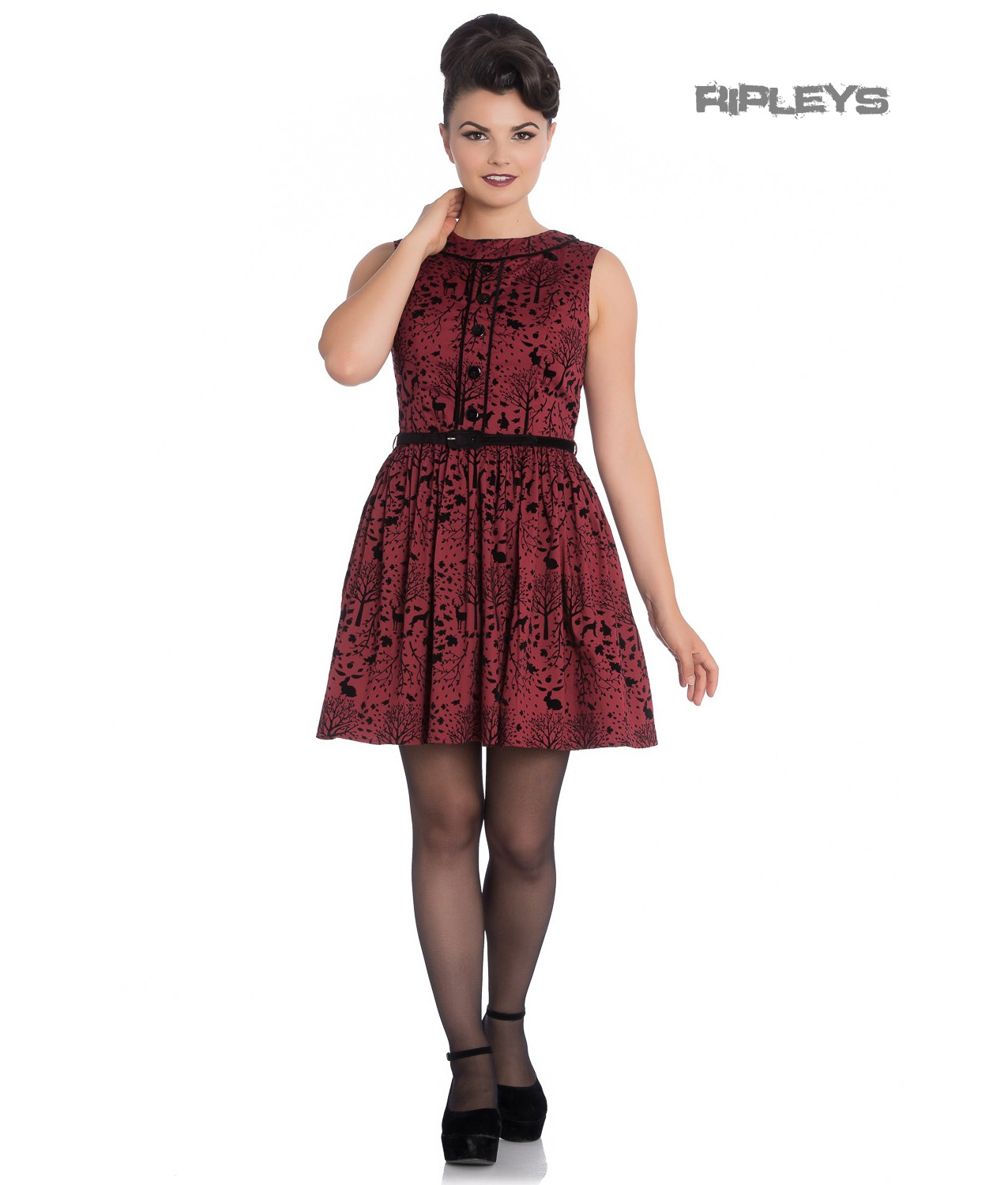 70001bf2462c Sentinel Hell Bunny 50s Mini Skater Dress Woodland Trees SHERWOOD Black Red  All Sizes