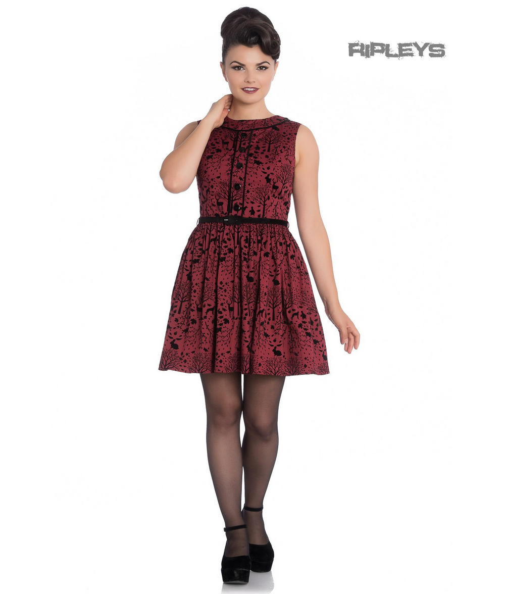 dae251c81c Hell Bunny 50s Mini Skater Dress Woodland Trees SHERWOOD Black Red All Sizes