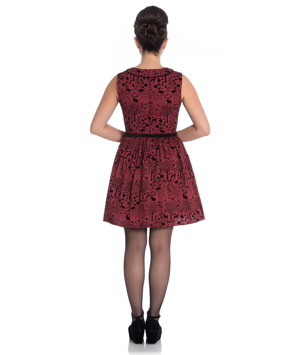 Hell-Bunny-50s-Mini-Skater-Dress-Woodland-Trees-SHERWOOD-Black-Red-All-Sizes thumbnail 13