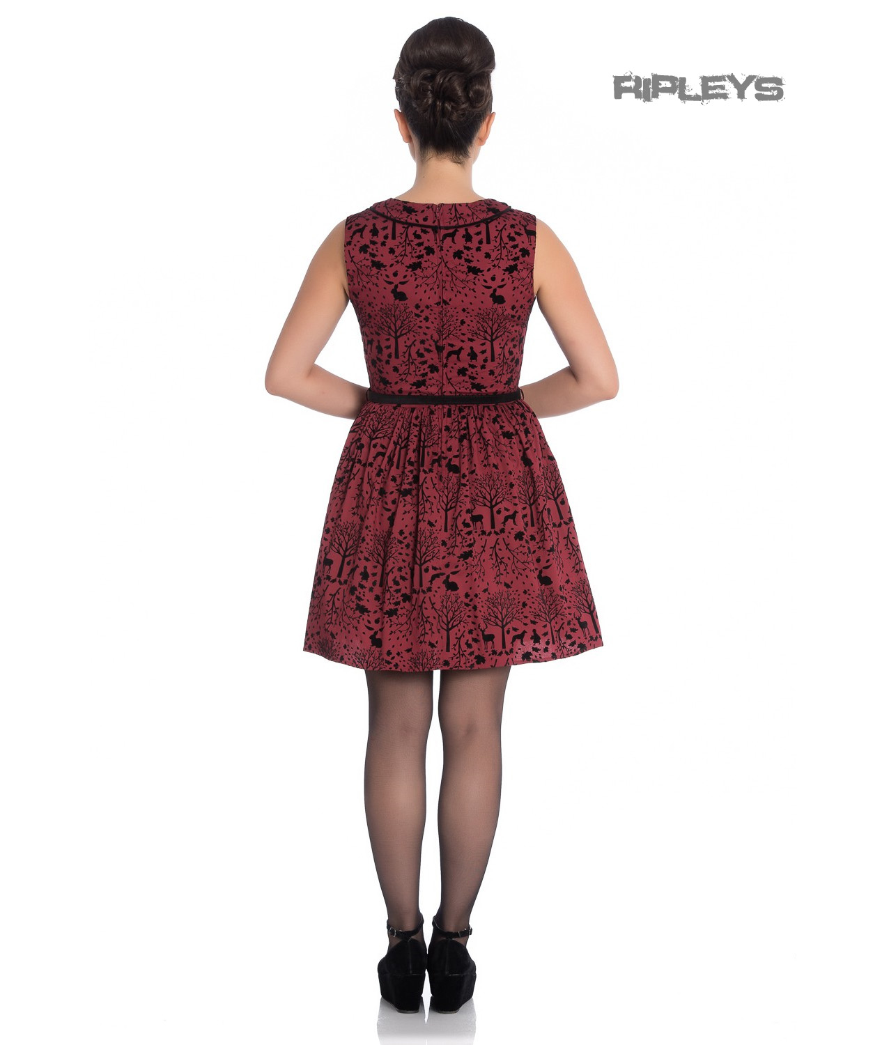 Hell-Bunny-50s-Mini-Skater-Dress-Woodland-Trees-SHERWOOD-Black-Red-All-Sizes thumbnail 4