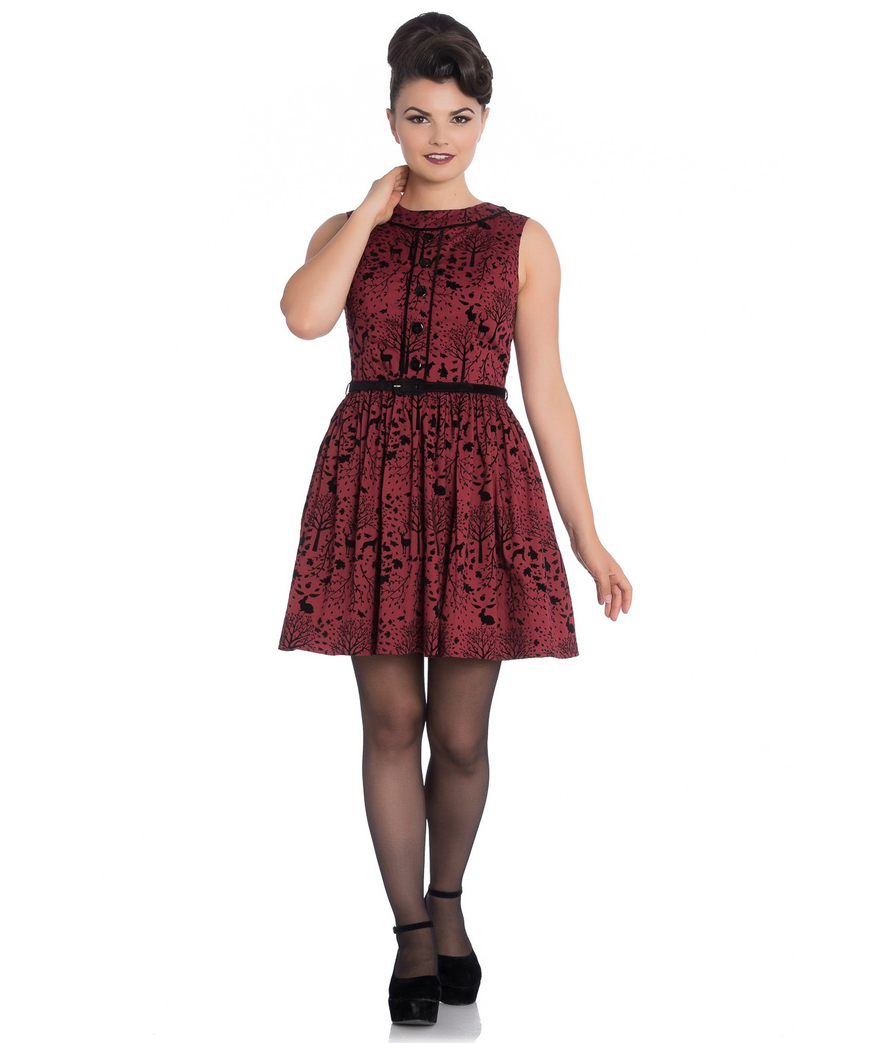 Hell-Bunny-50s-Mini-Skater-Dress-Woodland-Trees-SHERWOOD-Black-Red-All-Sizes thumbnail 3