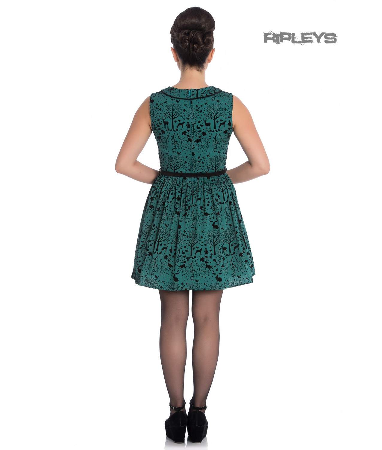 Hell-Bunny-50s-Mini-Skater-Dress-Woodland-Trees-SHERWOOD-Dark-Green-All-Sizes thumbnail 4