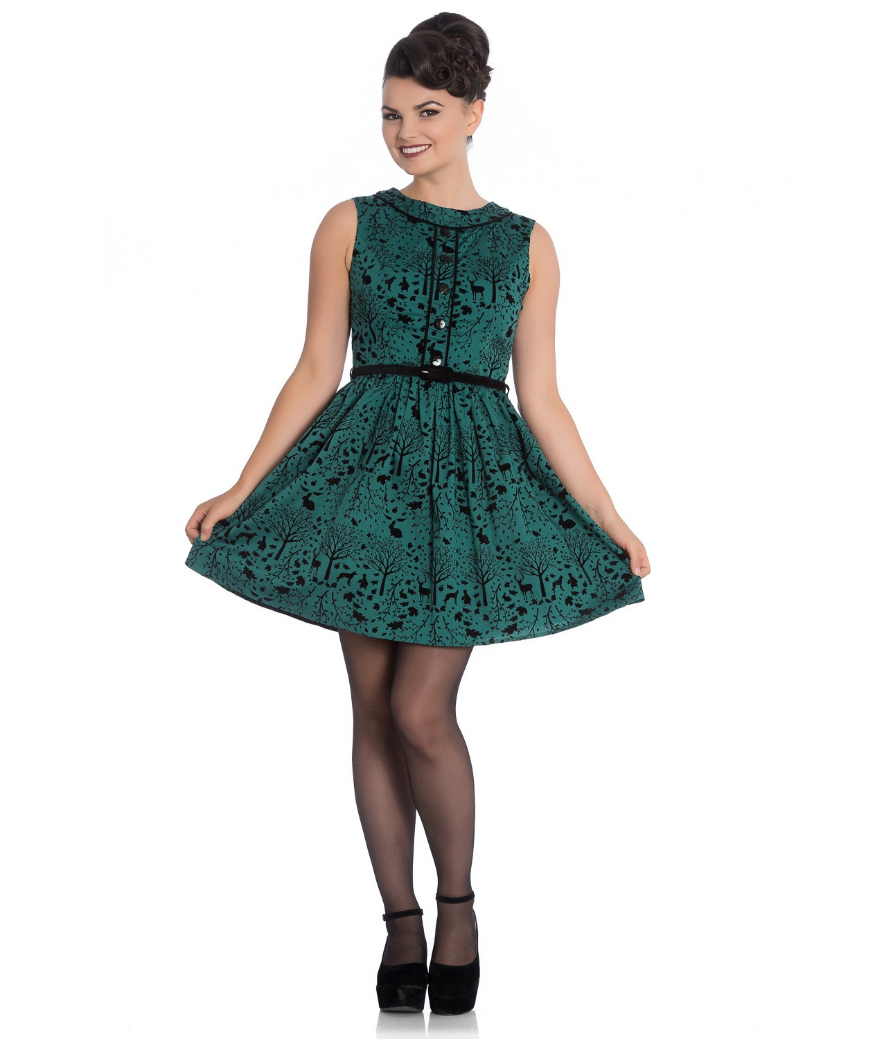 Hell-Bunny-50s-Mini-Skater-Dress-Woodland-Trees-SHERWOOD-Dark-Green-All-Sizes thumbnail 3