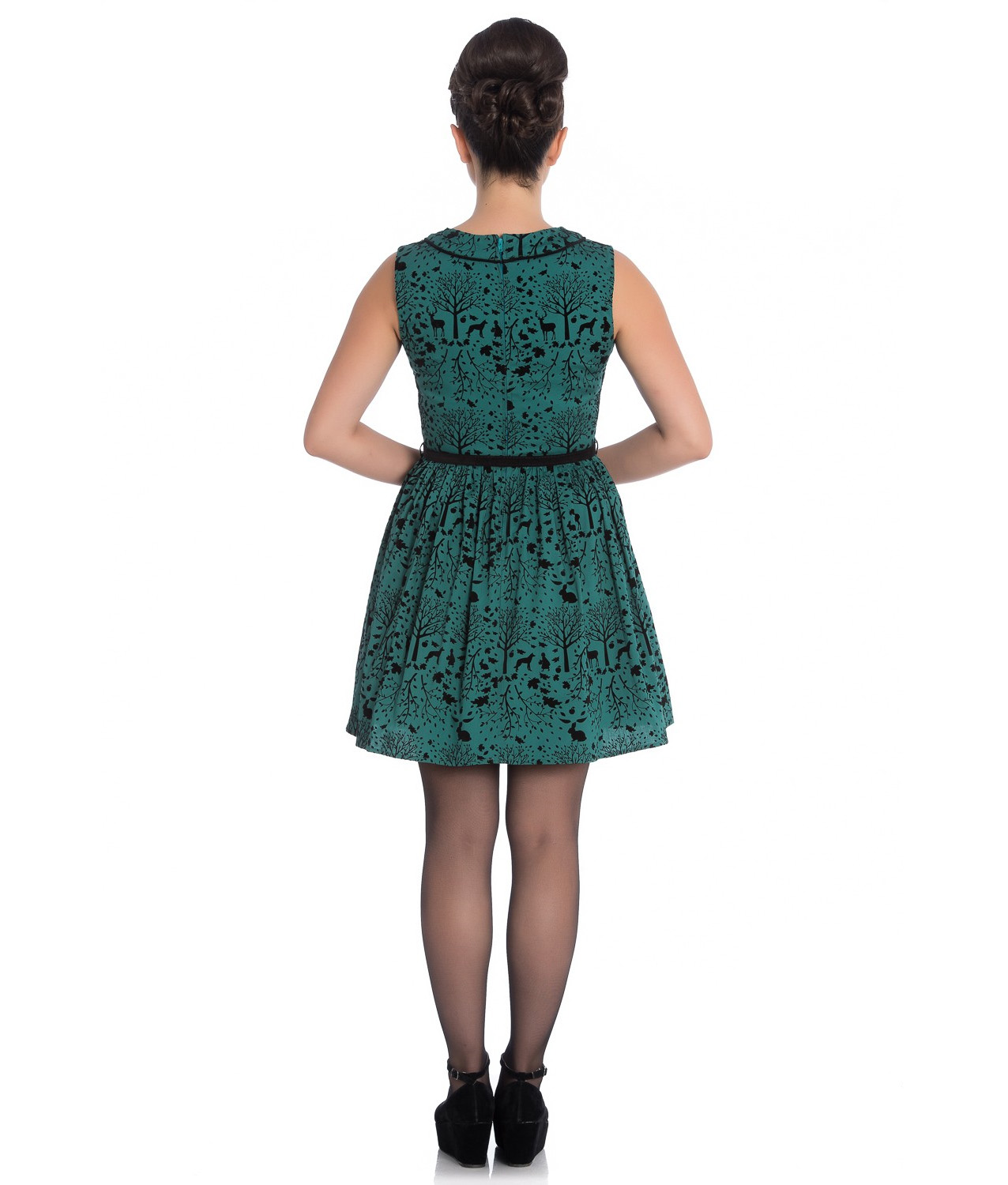 Hell-Bunny-50s-Mini-Skater-Dress-Woodland-Trees-SHERWOOD-Dark-Green-All-Sizes thumbnail 13
