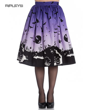 Hell Bunny 50s Halloween Graveyard HAUNT Skirt Purple Black Bats All Sizes