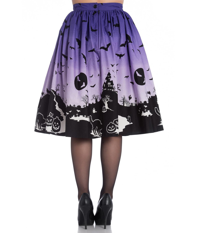 thumbnail 8 - Hell Bunny 50s Halloween Graveyard HAUNT Skirt Purple Black Bats XS 8 LAST ONE
