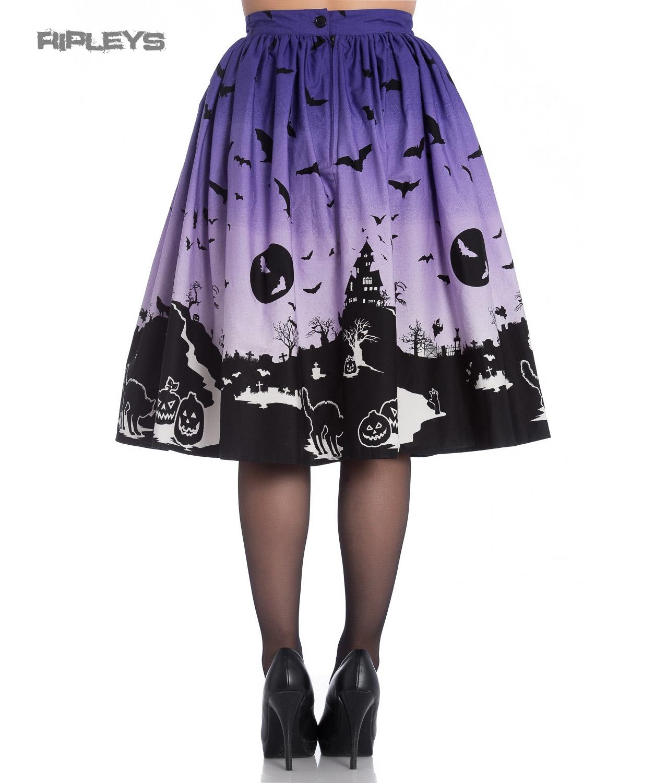 thumbnail 7 - Hell Bunny 50s Halloween Graveyard HAUNT Skirt Purple Black Bats XS 8 LAST ONE