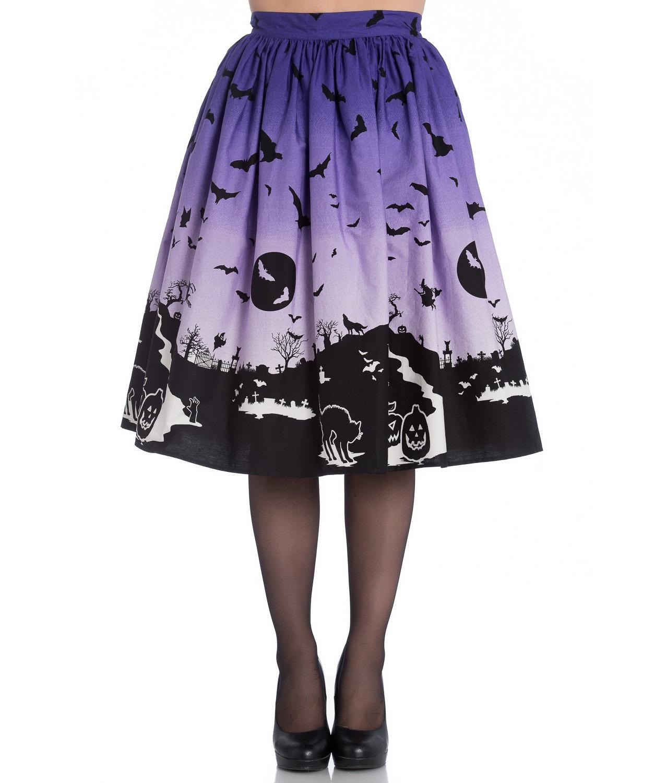 thumbnail 6 - Hell Bunny 50s Halloween Graveyard HAUNT Skirt Purple Black Bats XS 8 LAST ONE