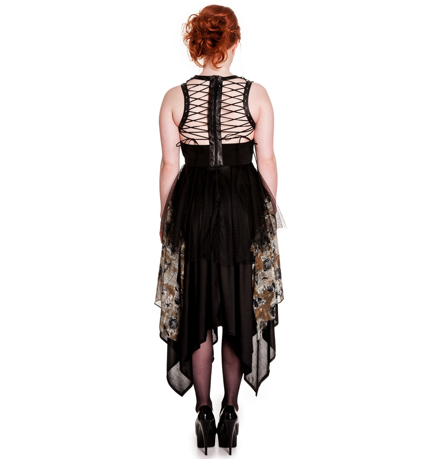 Hell-Bunny-Spin-Doctor-Goth-Black-Dress-ECLIPSE-Grunge-Steampunk-All-Sizes thumbnail 13