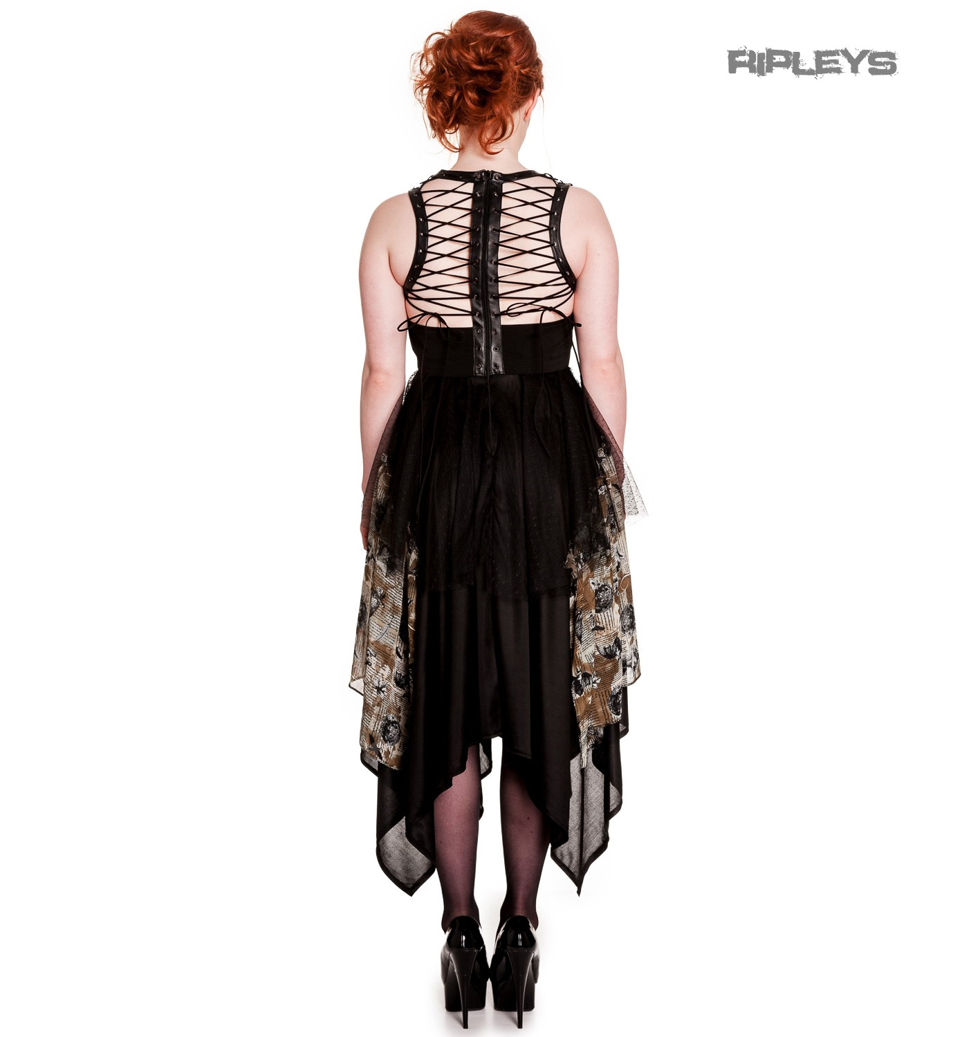 Hell-Bunny-Spin-Doctor-Goth-Black-Dress-ECLIPSE-Grunge-Steampunk-All-Sizes thumbnail 12