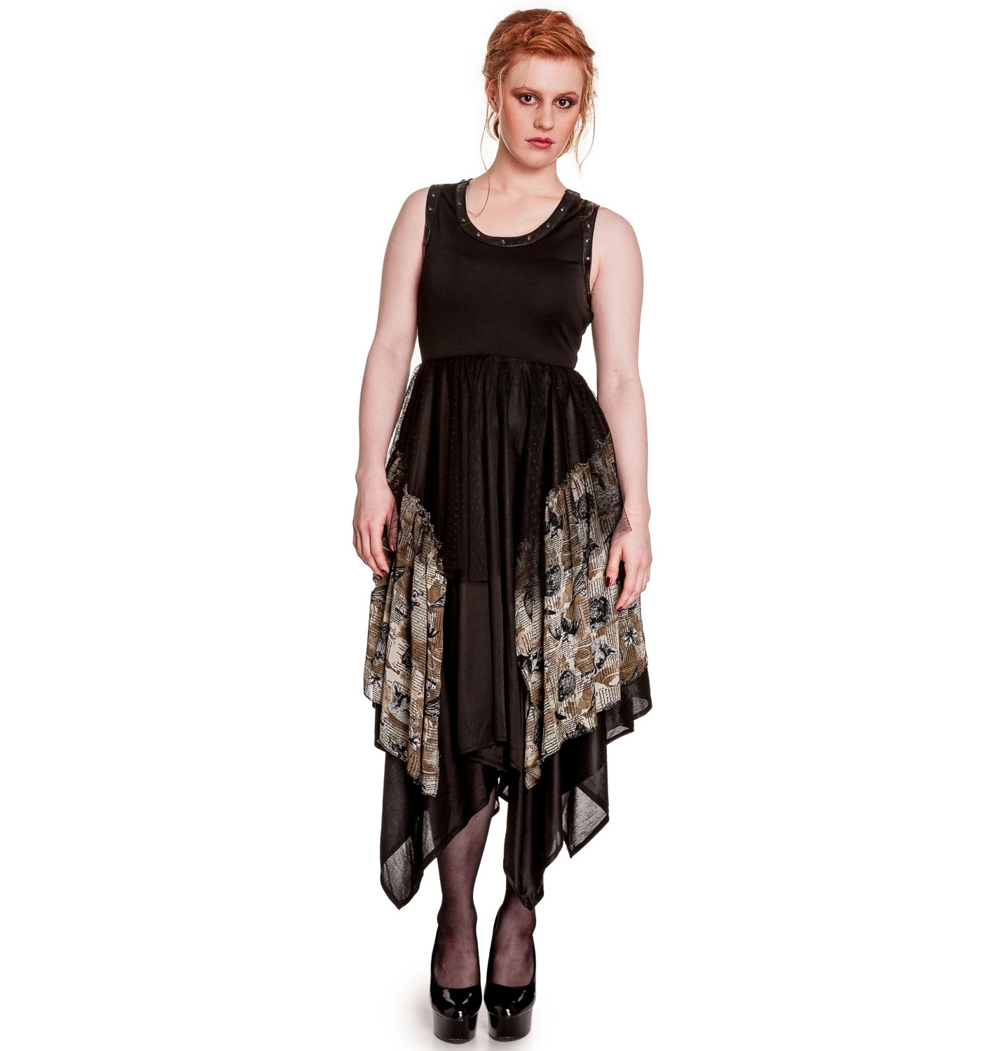 Hell-Bunny-Spin-Doctor-Goth-Black-Dress-ECLIPSE-Grunge-Steampunk-All-Sizes thumbnail 11
