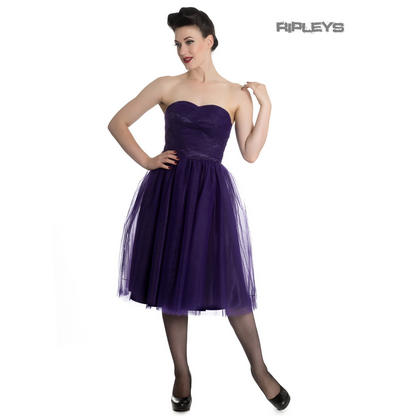 Hell Bunny Strapless Party Prom Dress Goth Fairy TAMARA Net Purple All Sizes