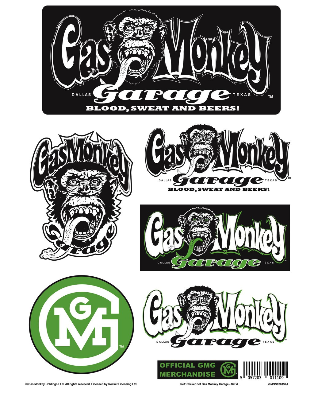 Gas Monkey Garage Car Decal: Official Gas Monkey Garage A4 Set Of STICKERS Blood Sweat