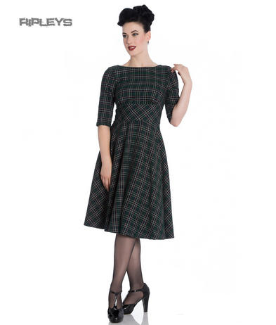 Hell Bunny 40s 50s Pin Up Wartime Dress PEEBLES Green Tartan All Sizes