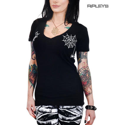 TOO FAST Clothing Rockabilly Goth Black Spider WEBS Sweet Vee Top All Sizes
