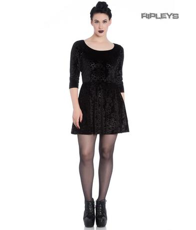 Hell Bunny Spin Doctor Skater Mini Dress MARGOT Black Filigree Velvet All Sizes