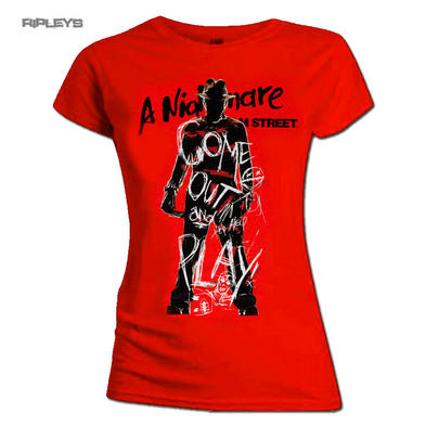 Official Ladies T Shirt Nightmare On Elm Street Come Out & PLAY Freddy All Sizes